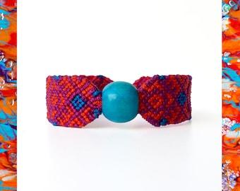 Woven Friendship Bracelet Wooden Threads Turquoise Bead Aztec Flowers women macrame gift ideas trends ethnic simple native - Qenqo Bracelets
