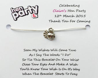 10 x Personalised Hen Night Wish Bracelets Hen Party Wish Bracelets Favours/Gifts