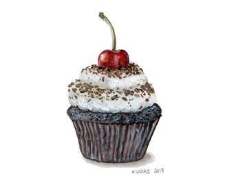 Original Cherry Cupcake Painting