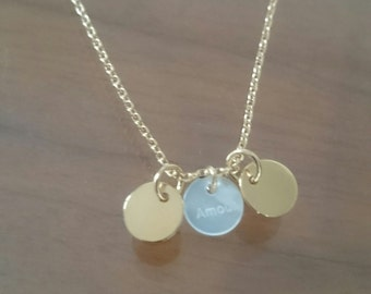 Necklace medals to customize, silver or just plated gold, 2 lengths of chain