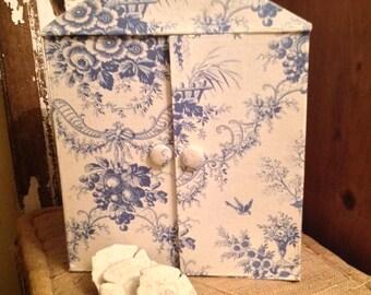 Vintage Toile de Jouy Fabric Miniature Armoire