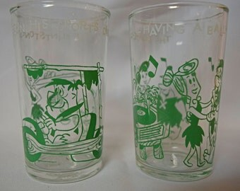 1962 The Flintsones Welch's Jelly Glasses - Set of 2 Green