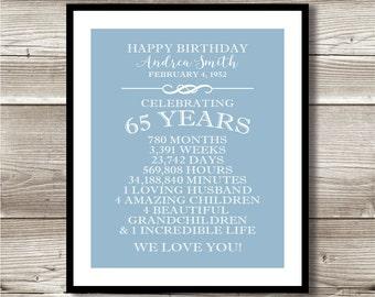 65th Birthday print; birthday gift; digital print; 65 years old, customizable, milestone; keepsake gift, 65 Years of Life, 65 Years