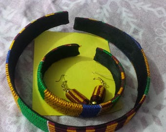 SET of Pure Handmade Kente Headband, Wristband & Ear-ring