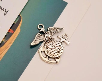 Usmc decals eagle globe and anchor decals semper fi decals 20 antique silver marine corps charms usmc charm eagle globe and anchor x04 aloadofball Images