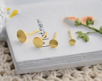 12 pcs (6 pairs) 925 sterling silver gold earring stud post tray blank flat pads  3mm 4mm 5mm 6mm   LIGS