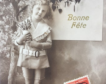Girl in boyish outfit * Sepia photography * Vintage Greeting card