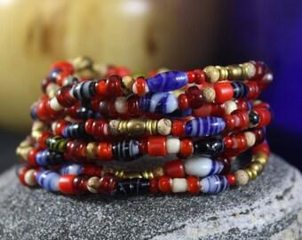 Women's Beaded Bracelet, Valentines Bracelet, Red White Hearts, European Glass Beads, African Goombas Beads, Picture/Dalmatian Jasper Stones