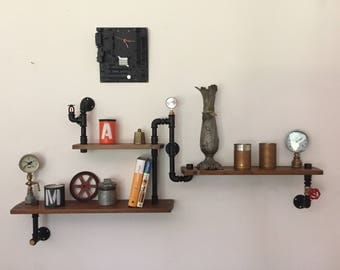 Three-shelf Industrial Steampunk style shelves in plumbing pipes.