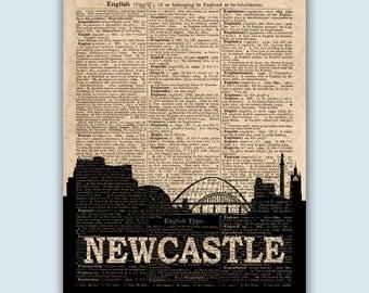 Newcastle Skyline, Newcastle Wall Art, Newcastle Home Decor, Newcastle England, Newcastle Poster, Newcastle Art,  Newcastle Cityscape
