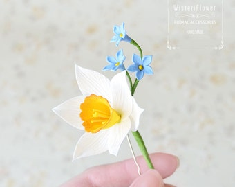 Wedding Hair pin White Flower hair accessories Daffodil Gift for her Spring Flower Rustic flower jewelry Blue flower Woodland Spring flower