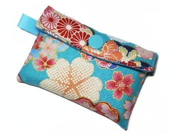 blue card holders in Japanese fabric