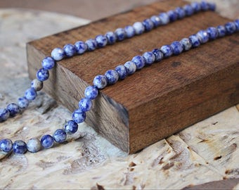 Natural Blue Spot Beads, Faceted Beads, Round Beads