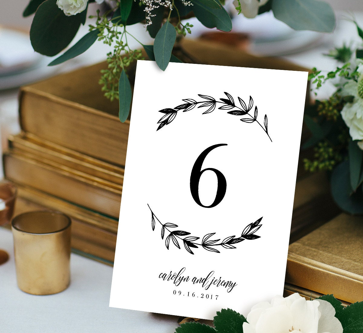 Wedding table number card template printable table number for Table numbers for wedding reception templates