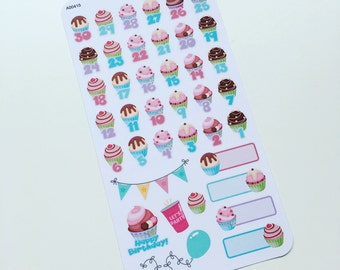 Birthday Countdown Stickers perfect for your Planner, Journal, or Scrapbook (A00415)