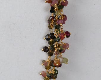 Multi Color Semiprecious Cluster Gemstone Goldtone Chain