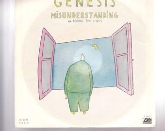 """7"""" 45 Vinyl Single by Genesis Misunderstanding / Behind the Lines (b-side) 1980"""