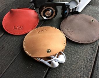 Leather Earphone case Cable organizer Earphone holder