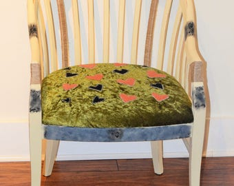 Upcycled Furniture Upcycled Chair Chalk Painted Furniture Chalk Painted Oak Chair Refurbished Furniture Refurbished Chair Upholstered Chair