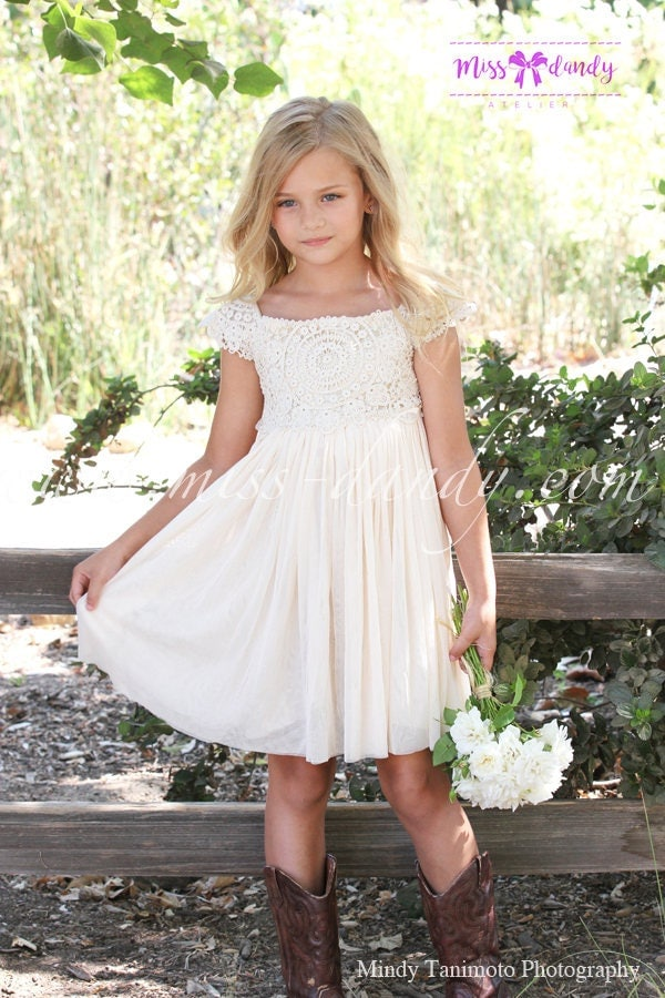 Rustic Flower Girl Dress,Boho Lace Crochet Flower Girl ...