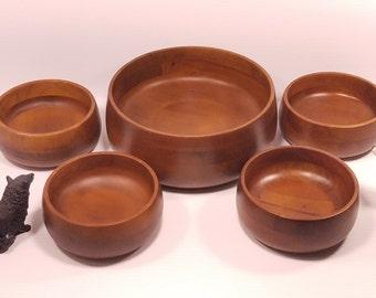 vintage hellerware 5pc salad bowl set wooden serving bowls carved wood bowls retro