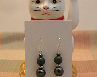 Indian Agate, Hematite Earrings w/925 Sterling Silver Earwires