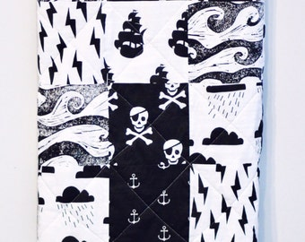 Black and white baby quilt, pirate, sailor, skulls, lightning, minky, sea, baby boy, warm, patchwork