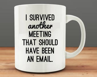Co-worker Office Gift Idea, I Survived Another Meeting That Should Have Been An Email mug, funny work mug (M17-rts)