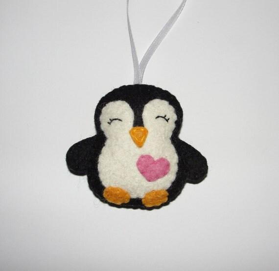 Lovely Mini Wool Felt Penguin Ornament Black Penguin
