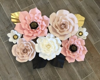7 flower set, blush, off white, gold and black accents.