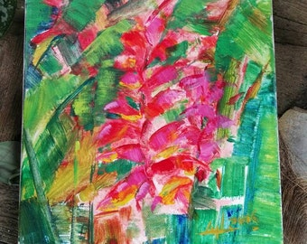 Heliconia No.2 / Floral Acrylic Painting / Tropical Painting