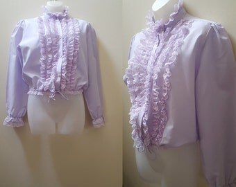 1970s Ruffled Blouse / 70s Lilac Ruffled Cropped Tie Front Top Victorian Revival Winter Spring Medium Large