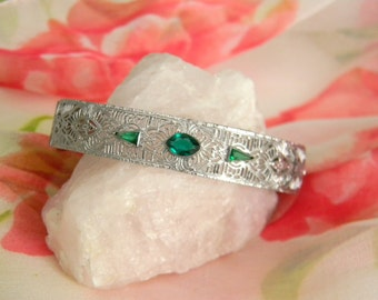 Art Deco Emerald Filigree Bridal Bracelet - Vintage Emerald Filigree Rhodium Plated Bracelet - Art Deco Hinged Filigree Bracelet Wedding