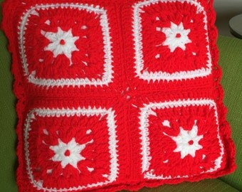 Vintage Red and White Granny Square Throw Pillow