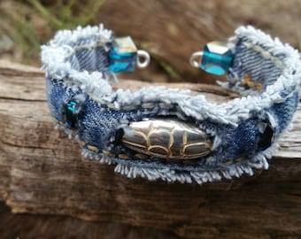 Frayed Denim Cuff with Beads