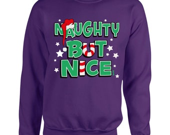 Funny Christmas Sweater, Unisex,Naughty But Nice, Holiday Sweater,Merry Christmas,Crewneck,Holiday Fashion,Cute, Gift Idea,Christmas Party