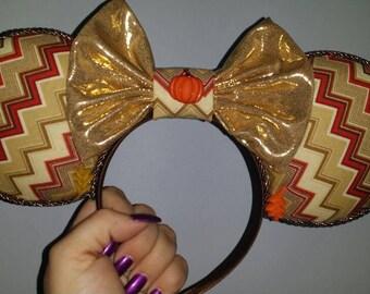 Mickey Ears, Minnie Ears, Fall Ears, Thanksgiving,  Mickey Ears, Fall Minnie, Fall Mickey, Ears, Disney Ears, Pumpkin, Leaf, Chevron Ears
