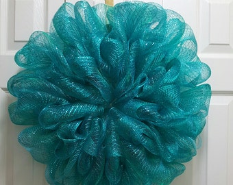 Ready to Decorate or leave as is Teal Deco Mesh Wreath
