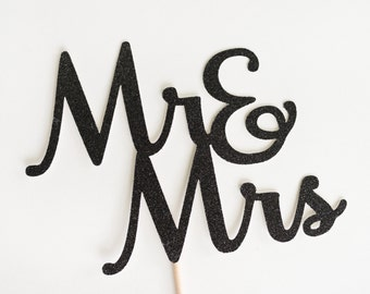 Mr & Mrs Wedding Cake Topper, Black Glitter, and, Bridal shower Decor, Script , Calligraphy, Handwritting, Decoration, Mr and Mrs