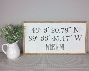 Latitude Longitude Sign | House Warming Gift | GPS Coordinates | Anniversary Gift | Housewarming Gift | Realtor Closing Gift