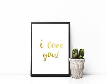 I Love You Wall Art - 5x7 and 8x10 Printable, Home Decor, Print Art, Wall Art Prints, Minimalist, Wall Print