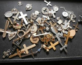 Religious Jewelry lot vintage new crosses pendants more great mix!