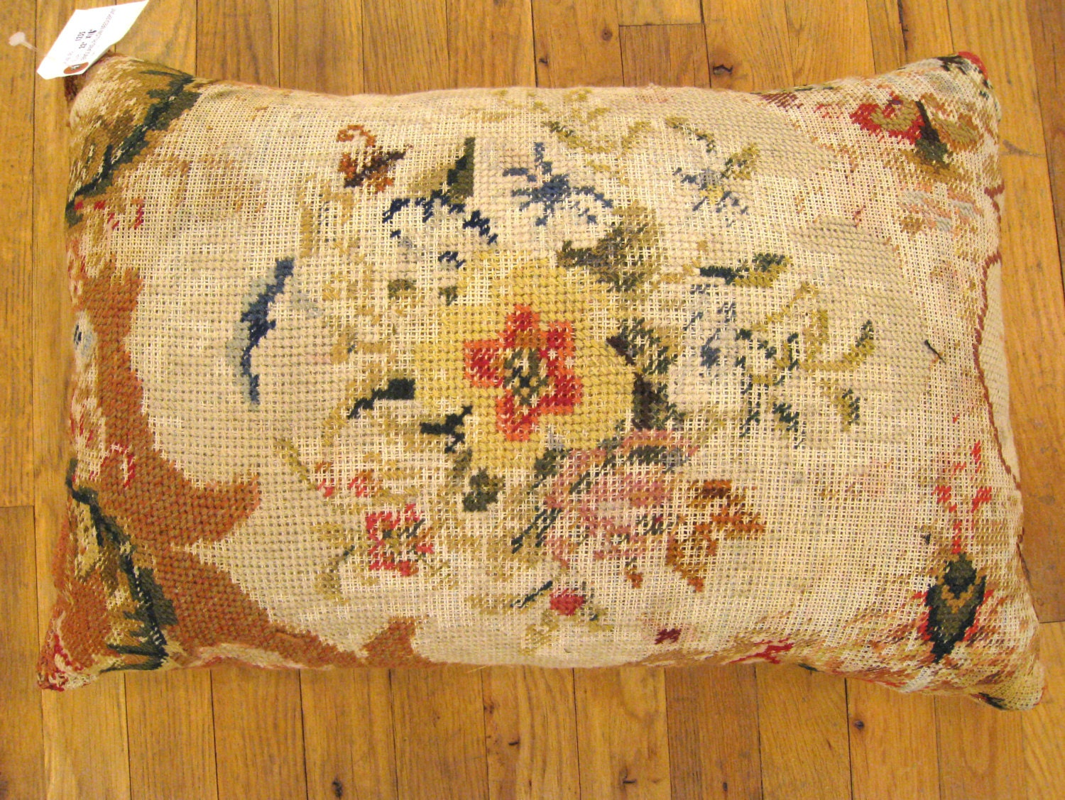 Needlepoint Pillow Decoration Crossword : Vintage Decorative English Needlepoint Pillow size 22 x