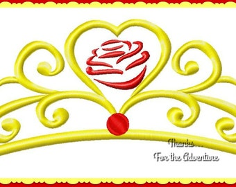 Princess Belle Rose Tiara Crown from  Beauty and the Beast Digital Embroidery Machine  Design File 4x4 5x7 6x10