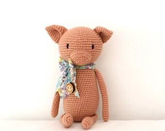Pig soft toy, crochet toy, woollen stuffed toy, softie, plushie