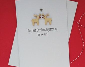 Handmade Christmas Card - Personalised - Reindeer in Love