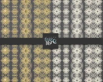 DIGITAL LACE Border Clip Art - digital paper - digital clip art - lace border - vintage lace - digital lace - GOLD frame - scrapbook paper