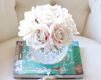 Blush and Ivory Roses in Vintage Glass Rose Bowl