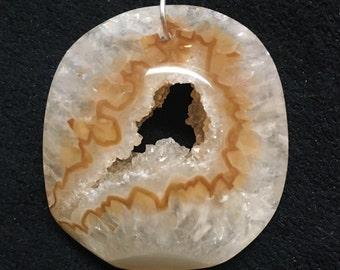 Crystal Druzy Geode - Sliced Agate Pendant - Gemstone Necklace - Raw Agate Necklace - Boho Druzy Necklace - Crystal Geode Stone