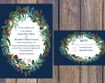 Navy and Red Floral Wreath Printable Wedding Invitation